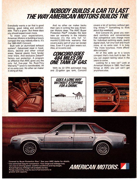 1980 Amc Concord 484 Miles Per Tank Of Gas Original Magazine Ad