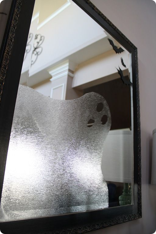 Use press 'n' seal to make a ghostly friend in the mirror or window.: Halloween Parties, Halloween Decor, Suggestions Wraps, Contact Paper, Fall Halloween, Ghosts Mirror, Bathroom Mirror, Paper Ghosts, Halloween Ideas
