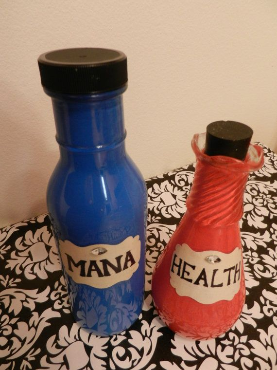 Set of 2 Health and Mana Gamer Geek Decorative by TheNerdBoutique, $25.00