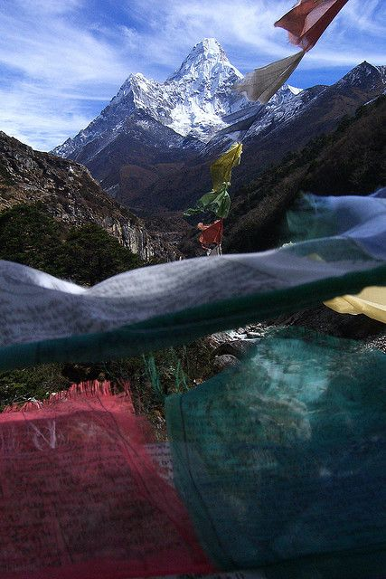 Ama Dablam seen through prayer flags, Sagarmatha, Nepal | via Flickr.