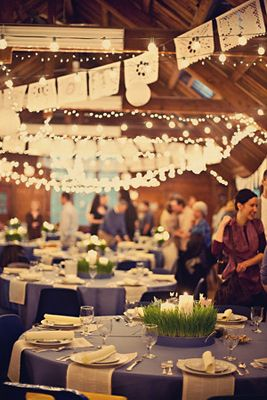 ...OR, paper lanterns, lace bunting banners AND white lights?!