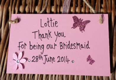 Personalised 'Pink' Flowergirl Thank You Gift Plaque