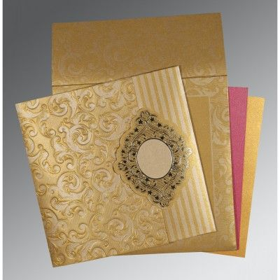 Latest And Elegant Hindu Wedding Cards Made From Golden Shimmer Paper Grab It With Card
