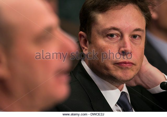 Washington DC, USA. 5th March 2014. Elon Musk, CEO of Space Exploration Technologies, also known as SpaceX, testifies before the Senate Appropriations Defense Subcommittee during a hearing on 'National Security Space Launch Systems' in Washington, D.C. on March 5, 2014. Credit:  Kristoffer Tripplaar/Alamy Live News - Stock Image