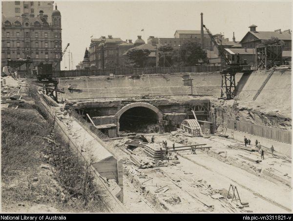 Open cut underground railway now completed, Museum Station, Sydney, New South Wales, ca. 1925