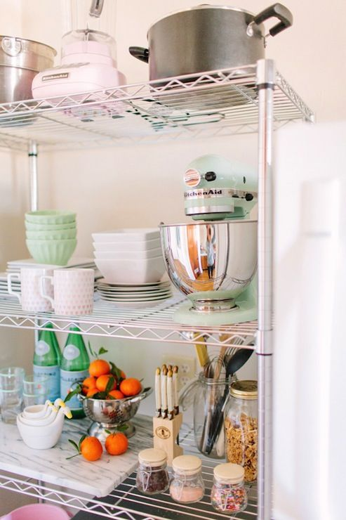 The Every Girl: Alaina Veronica Kaczmarski Home -  KItchen with Target Room Essentials Chrome 5 Tier ...