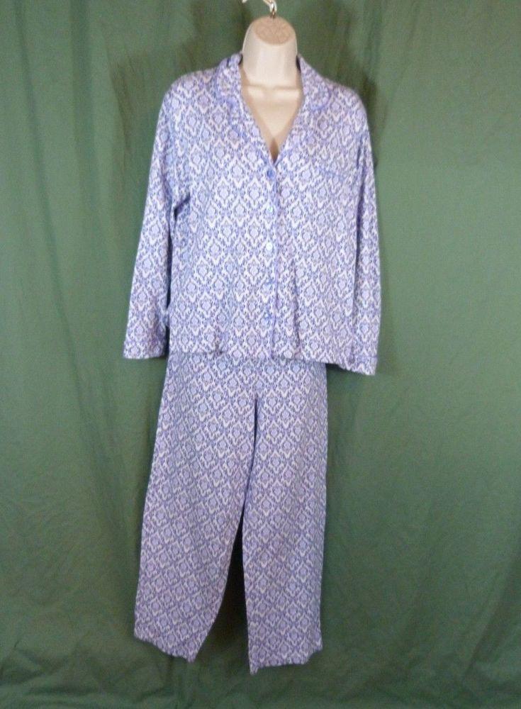 a283fd8c91a9 Charter Club Small 2 Pc Blue Paisley Cotton Top Long Sleeve Pajama Set  White Blu #CharterClub #PajamaSets #Everyday