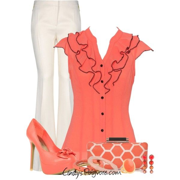 Coral with a Clutch by cindycook10 on Polyvore