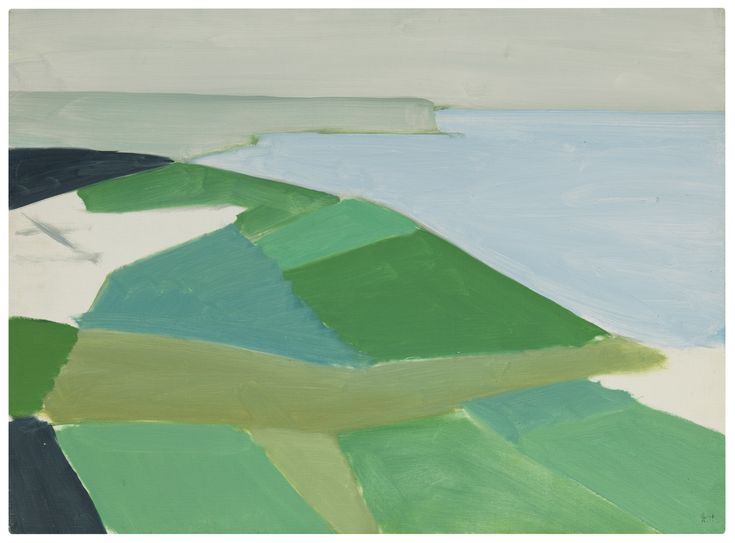 NICOLAS DE STAËL 1914 - 1955 CAP BLANC NEZ stamped with the artist's signature; stamped with the artist's signature on the reverse and titled and dated 1954 juillet on the stretcher, oil on canvas, 23 1/2 by 31 3/4 in.