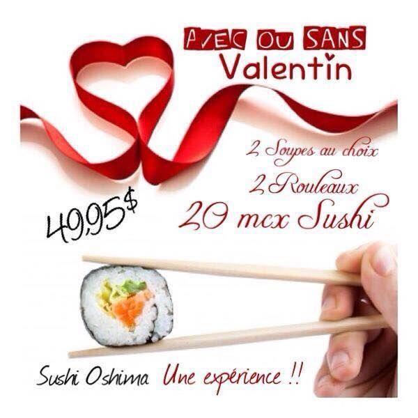 Idée St-Valentin : Des sushis pour apporter de Oshima Sushi. Les voisins de mon studio, leurs sushis sont excellents! https://www.facebook.com/pages/Sushi-Oshima/110395959152?sk=photos_stream  Oshima Sushi, 16 Rue George-muir, Charlesbourg, Quebec, G2N 1K7