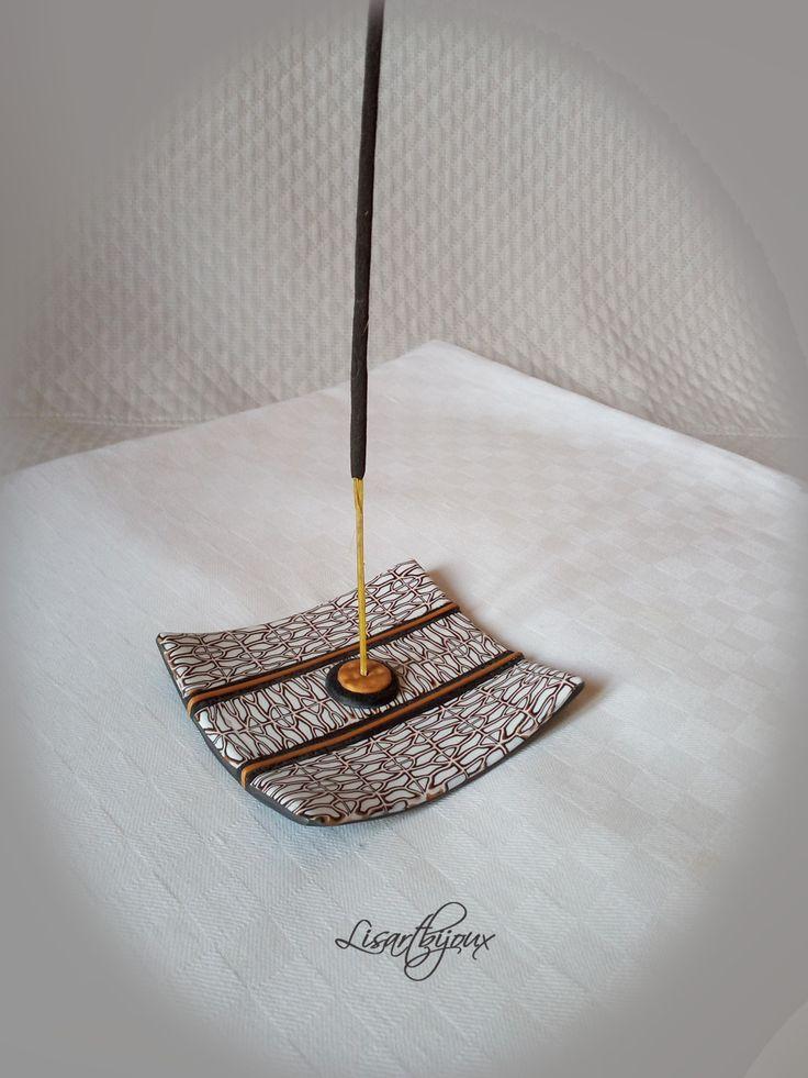 Brûle encens en pâte polymère, rectangulaire, blanc , noir et doré : Accessoires de maison par lisartbijoux