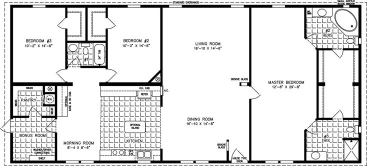 2000 sq ft floor plans the tnr 4687w manufactured home for Home plans under 2000 sq ft