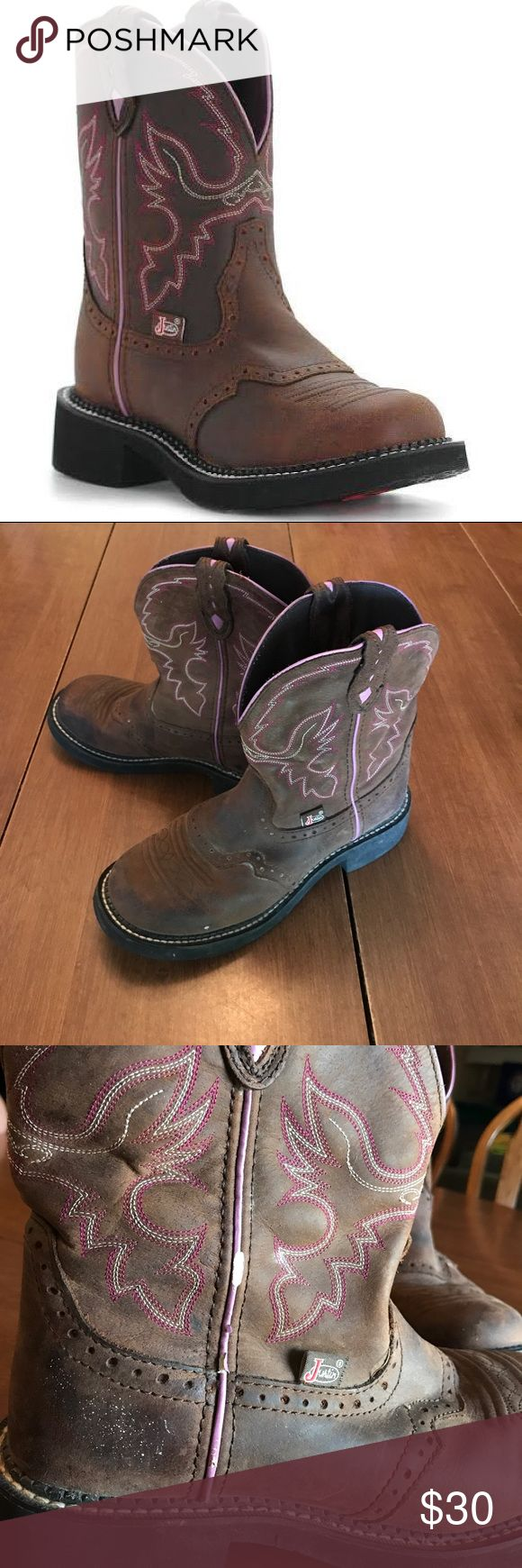 Justin Gypsy Boots Justin gypsy boots. Gemma style in aged bark. Some scuffing on one side, but still in great shape. Justin Boots Shoes Ankle Boots & Booties