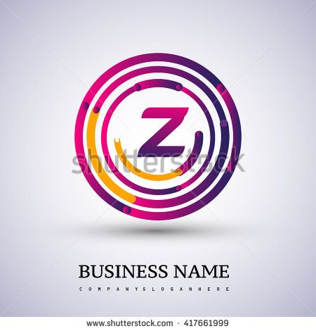 Letter Z vector logo symbol in the colorful circle thin line. Vector design template elements for your application or company identity. - stock vector