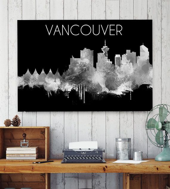 Vancouver Skyline, Print, Poster, Black and White, Watercolor Decor, Vancouver…