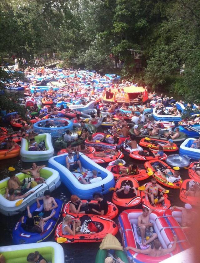 "Annual ""beer-floating"" event near Helsinki, Finland...  (European Chunky River Raft race! )"