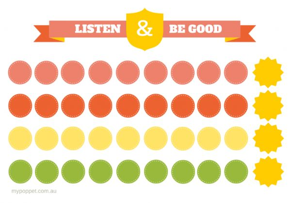 Listen and Be Good Printable Reward Chart http://mypoppet.com.au/2014/02/listen-be-good-printable-reward-chart.html#more-11711