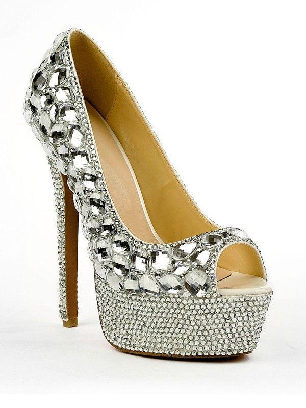 Rhinestones Peep Toe Patent Leather High Heels