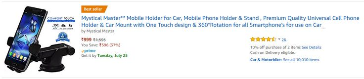 http://www.amazon.in/Mystical-Master-360%C2%B0Rotation-Smartphones-Windshield/dp/B06XBMC962 Product description  ➤ Features of Mystical Master Universal Mobile Phone Holder & Car Mount  ✨ A Holder that Sticks - A simple Mobile Phone Holder for Smartphone or GPS for use in Car that always stays in place. It never falls over due to Powerful suction Cup and Stick Gel pad.  ✨ Adjustable Viewing Angles - Whether you place phone on dashboard or front glass, the new 180 degree extendable arm of…
