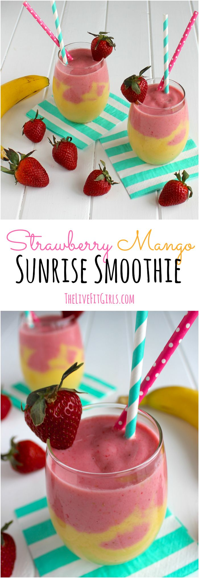 Power up your morning with this high-protein Strawberry Mango Sunrise Smoothie!