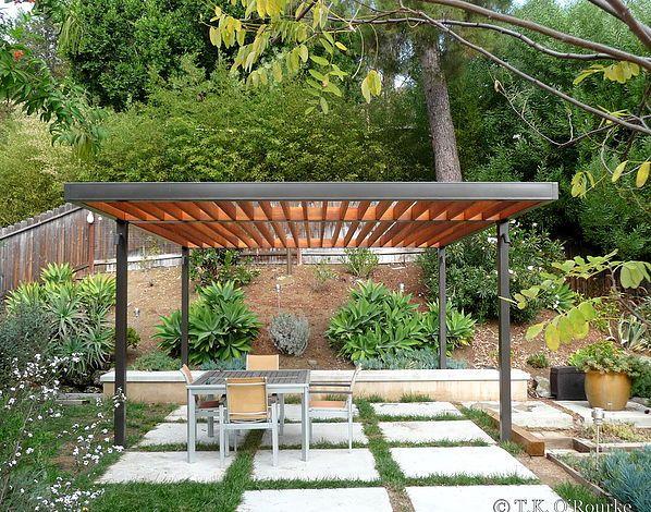 Modern Steel And Wood Pergola Backyard Pergola Modern