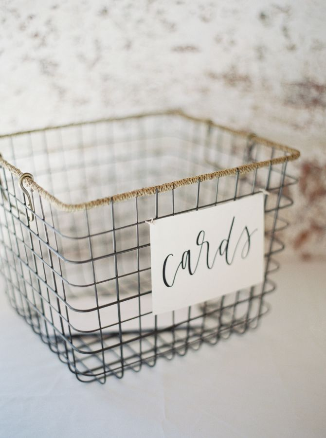 Modern metal wedding card basket: http://www.stylemepretty.com/2016/11/28/southern-brunch-wedding/ Photography: Jake and Heather - http://jakeandheatherphoto.com/