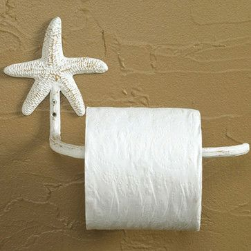 Starfish Toilet Tissue Holder - Beach lovers can deck out their bath in style with a hand crafted bathroom set fashioned after star fish.
