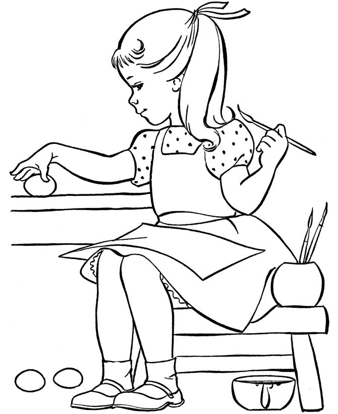 girl painting easter eggs easter egg coloring pages - Kids Painting Pages