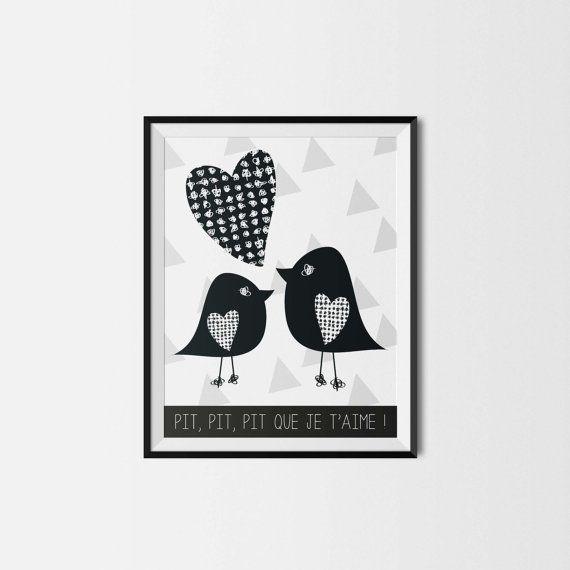 Illustration - Pour impression immédiate - OISEAUX - 8x10 - Chambre de bébé - enfant - Amour - Nursery wall decor - Instant download