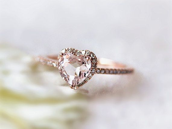 14k+Rose+Gold+Lovely+Heart+Shaped+Morganite+Halo+by+InOurStar