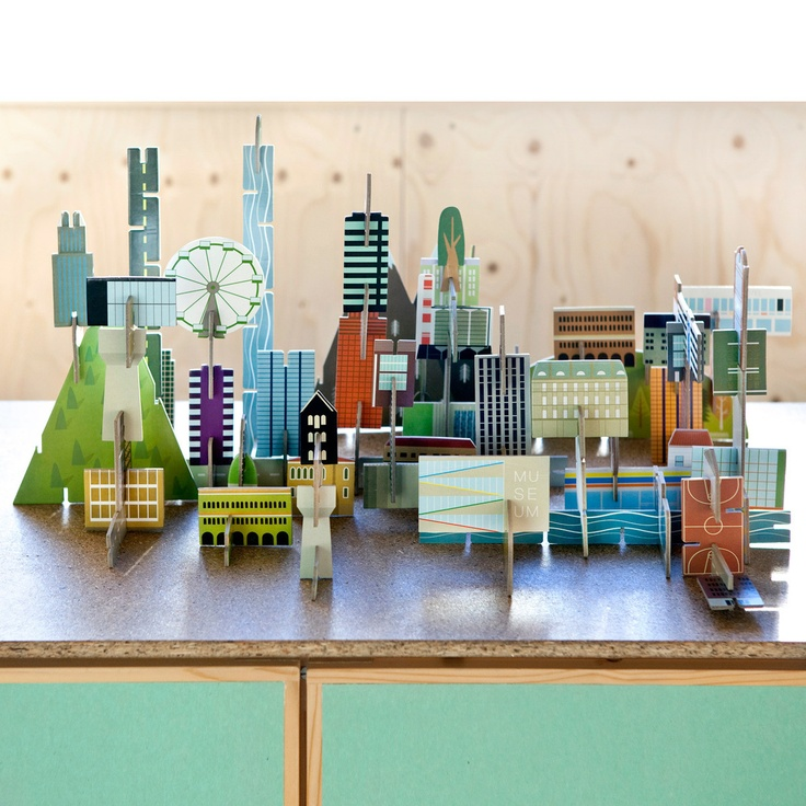 Made of recycled cardboard, the Archiville set includes houses, mountains, skyscrapers, trees, and roads that are easy to assemble and hard to put down.