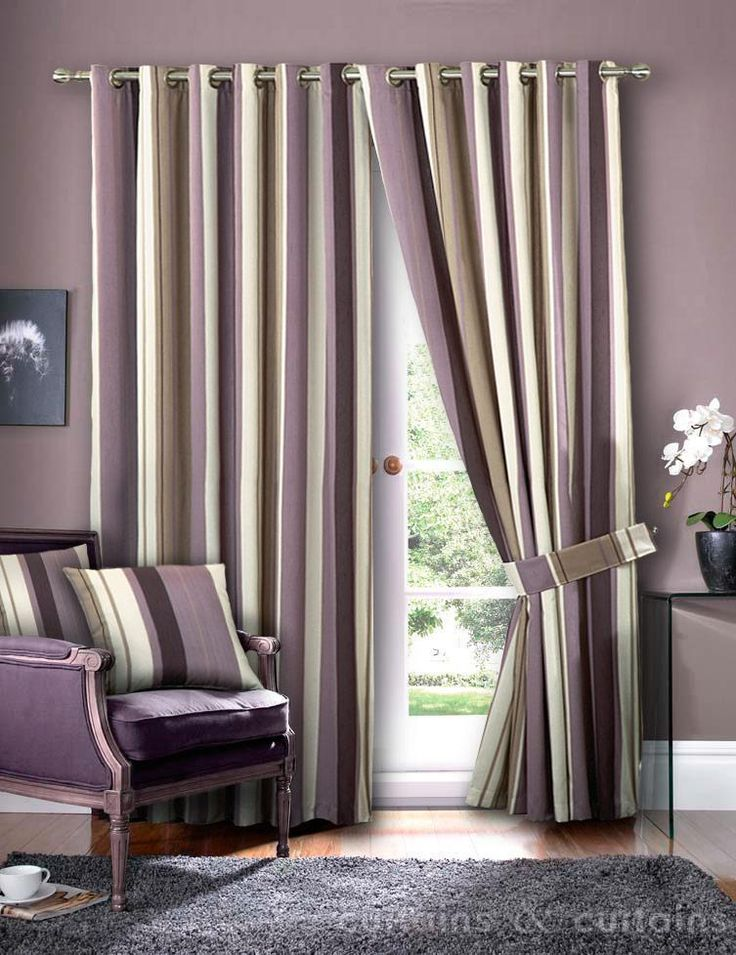 Hilton Purple Brown Eyelet Lined Striped Curtain