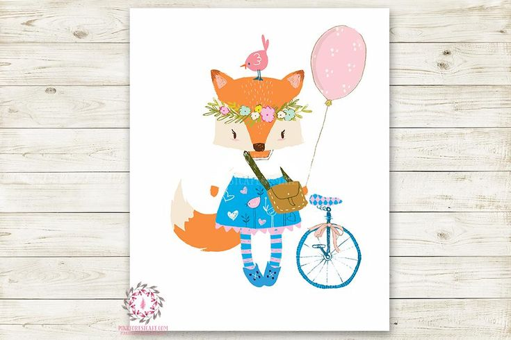 Boho Girl Fox Balloon Bike Wall Art Print Woodland Baby Nursery Printable Watercolor Decor