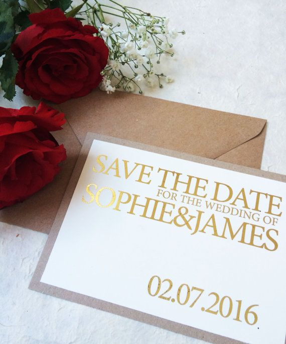 Rustic gold foil Save the date simple save the by peachyprintsuk