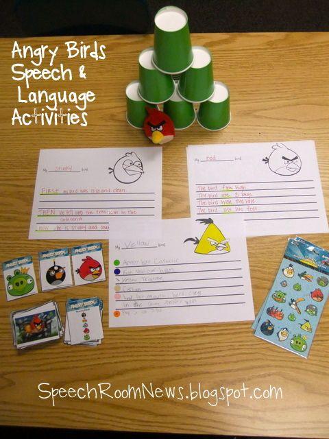 angry birds theme week: Rooms News, Birds Theme, Language Activities, Speech Therapy, Speech Activities, Angry Birds, Writing Activities, Speech Rooms, Therapy Ideas