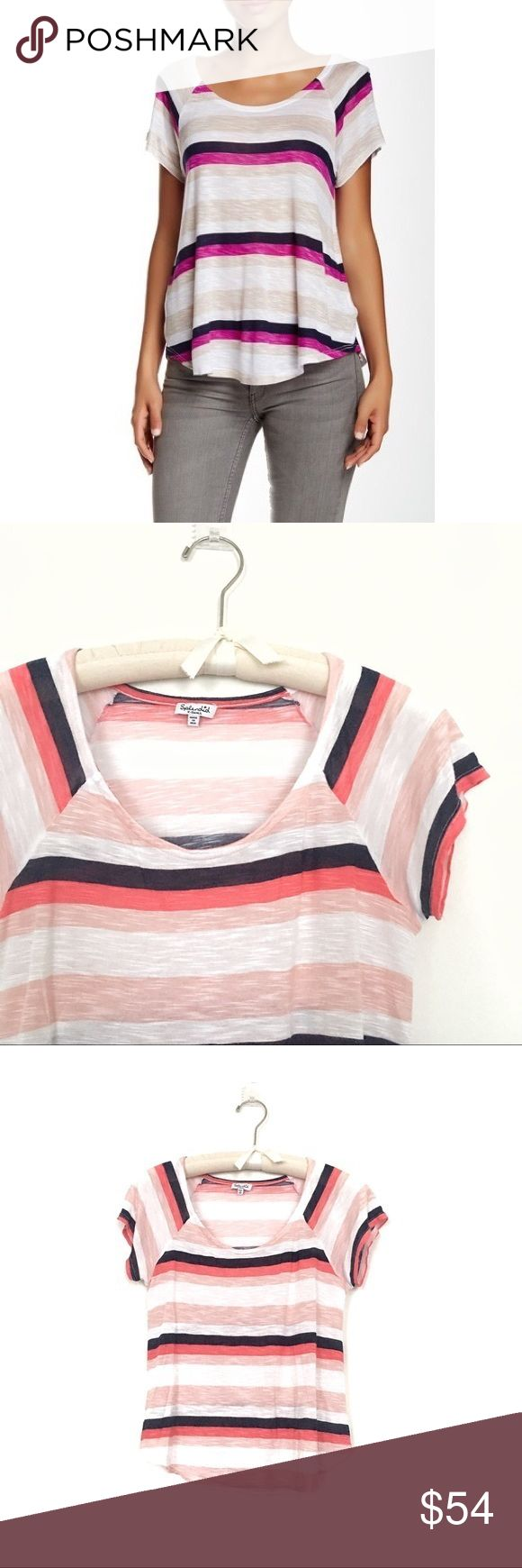 Splendid striped rayon tee Excellent condition  Rayon was the first manufactured fiber. The term rayon was officially adopted by the textile industry. Unlike most man-made fibers, rayon is not synthetic. It is made from wood pulp, a naturally-occurring, cellulose-based raw material. Splendid Tops