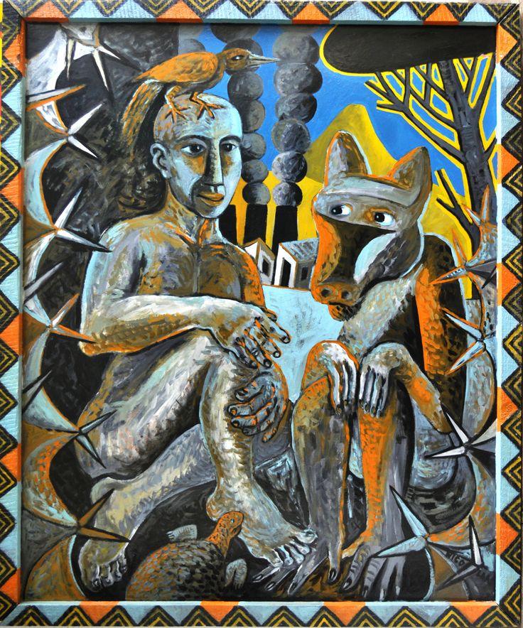 Nicolaas Maritz CONVERSATION PIECE, 1994/5, enamel paint on board