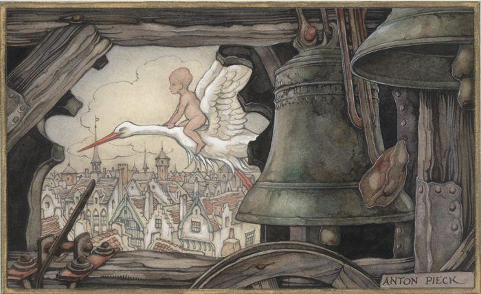 Aquarel op papier _ een ooievaar met baby, gezien door een klokkentoren - gesigneerd r.o. - 1949  Formaat: 20 x 16,2 cm  date: 19-10-49