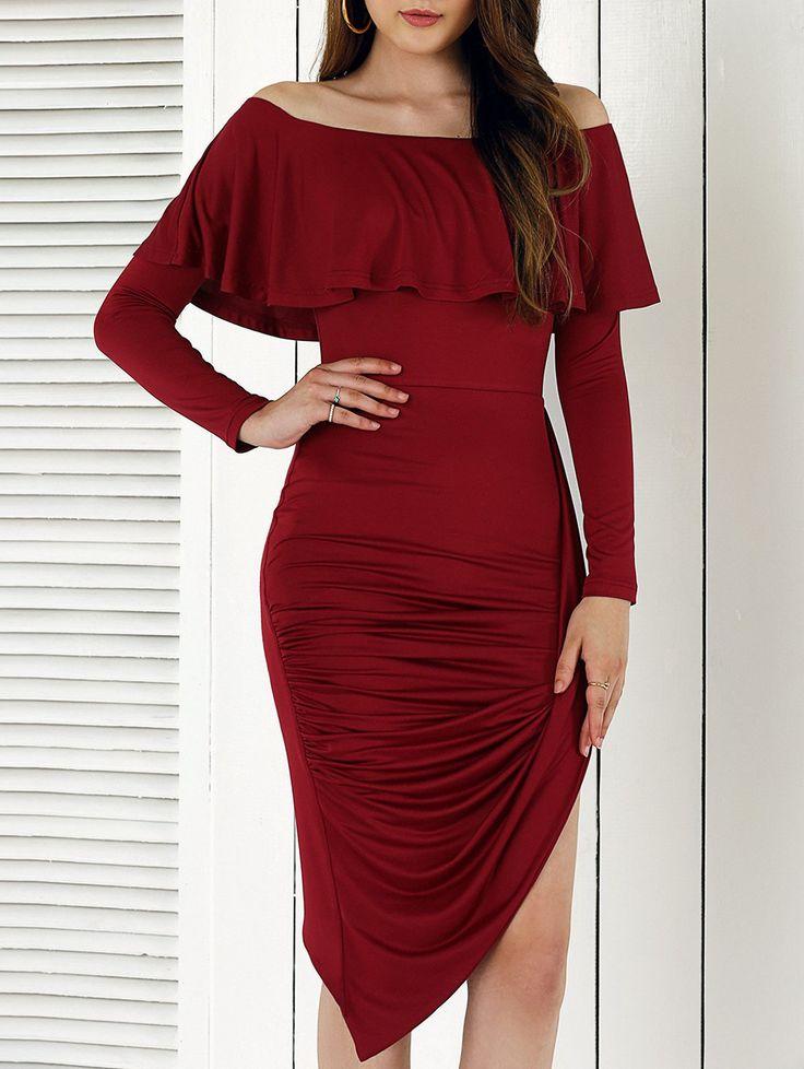 $10.55 Novelty Long Sleeve Asymmetrical Women's Overlay Dress