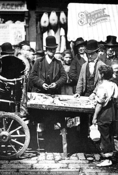 London, St Giles, Fish Stall 1885, from Francis Frith