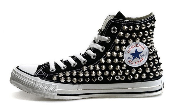 Converse AllStar original de Spike Silver zapatos con tachuelas de color negro