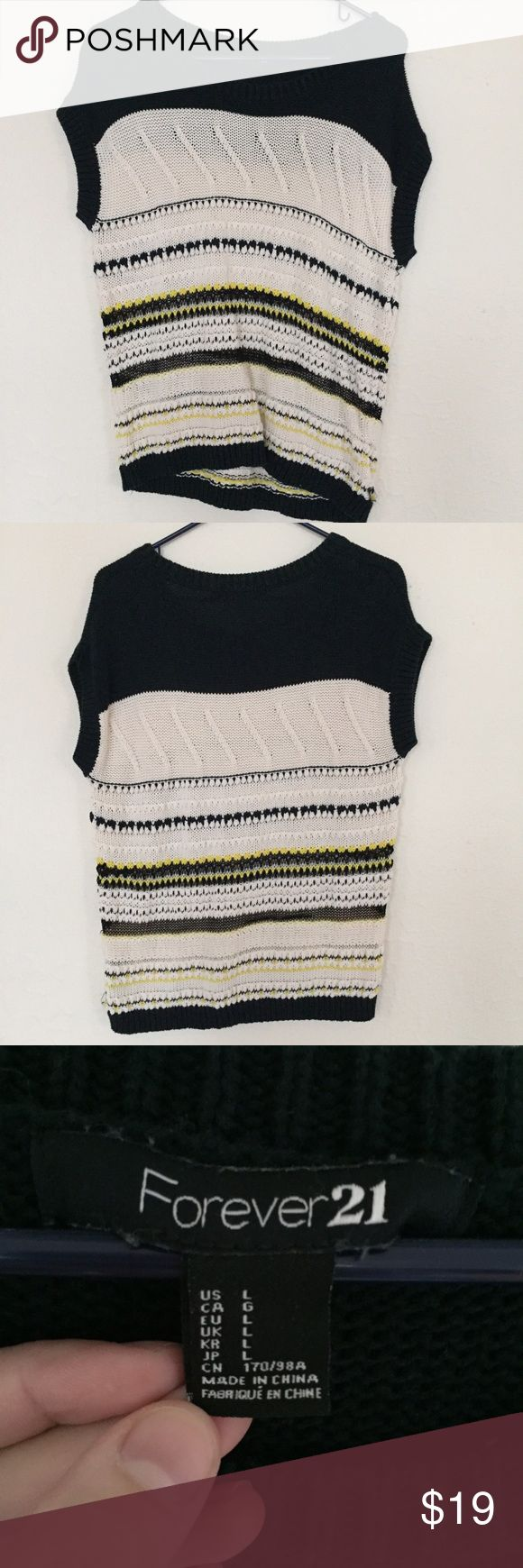 Short Sleeved Casual Sweater Unique styled knit sweater with short sleeves. Cute with a long sleeve undershirt or tank top. I wear small and I like this style loose but could fit like a tighter medium or large. In great condition. Ask me any questions. Forever 21 Sweaters