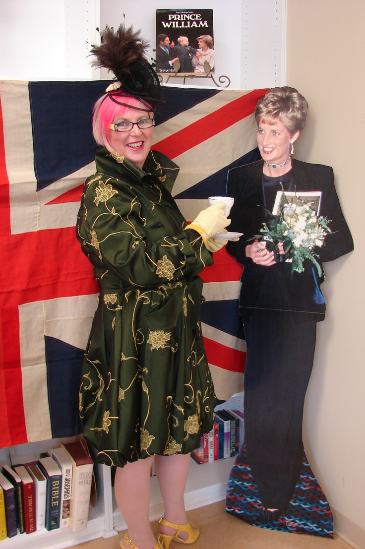 Norma Shephard at a Royal Wedding Tea presentation last year, where I met my cardboard cut-out companion.