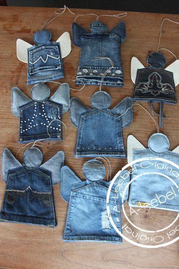 Kerst; mooie engeltjes gemaakt van old jeans-zakken. Made by A-leebel.nl