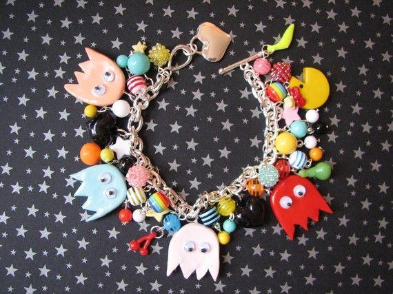 Ms Pacman Video Game Charm Bracelet by sweettreatsjewelry on Etsy, $47.99