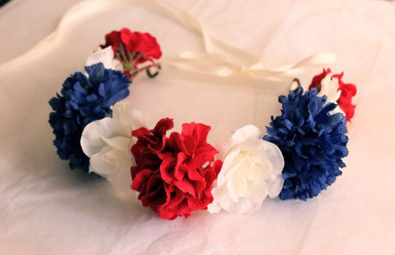 Red White and Blue Flower Crowns, Independence Day Flower Headband, Fourth of July Accessories, Flower Girl Crown, July 4th Hair Accessories