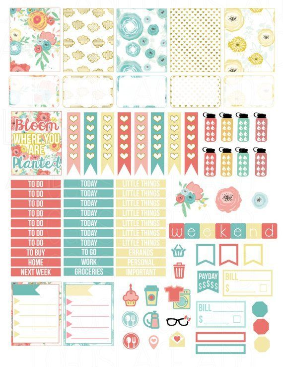 a641f487efaf Printable Planner Stickers Gold Floral Bloom Spring Glam Planning Vertical Sticker  Weekly Kit Flow