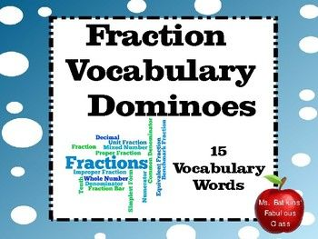 This math center is a great way for students to practice math vocabulary! It has 15 fraction vocabulary words.  Words included are: fraction, denominator, numerator, mixed number, improper fraction, common denominator, simplest form, equivalent fraction, tenth, decimal, proper fraction, fraction bar, whole number, benchmark fraction and unit fraction.These activities are ideal for math stations, individual or group work.