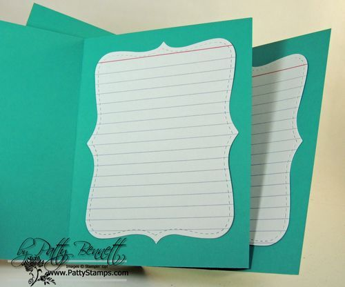 Great card inside idea - die cutting an index card with the Top Note die. Thanks Patty!