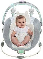 The Ingenuity InLighten Bouncer is a bouncer designed to soothe and comfort baby through touch, sounds, and lights!